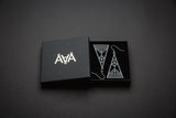 Aadra Collection grey Arrow design earrings with branded packaging