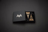Aadra collection Arrow design earrings with golden paint and branded packaging