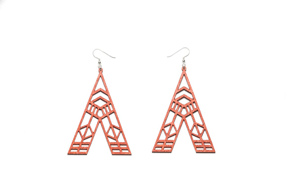 Abstract Earrings - Copper red