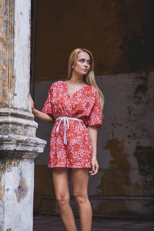 AUDREY PLAYSUIT BRICK RED PAISLEY HALF SIDE