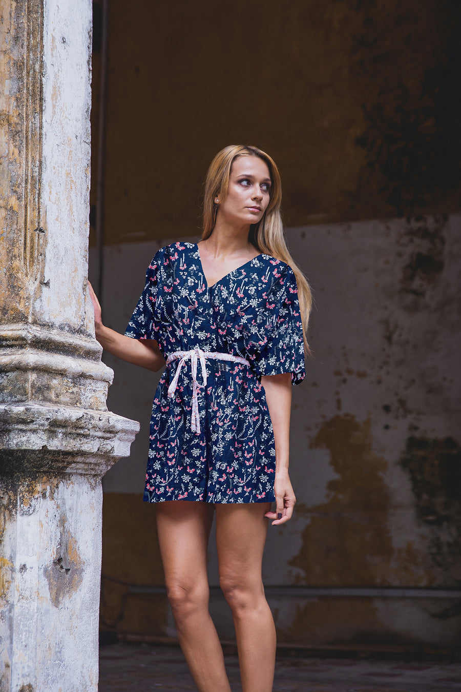 AUDREY PLAYSUIT NAVY BLUE FRONT