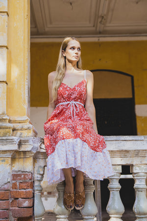 DAHLIA DRESS BRICK RED PAISLEY FRONT SITTING