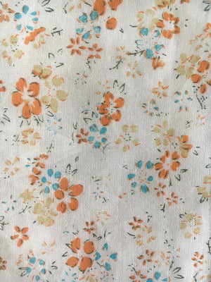 FABRIC WHITE FLOWERS ORANGE COTTON
