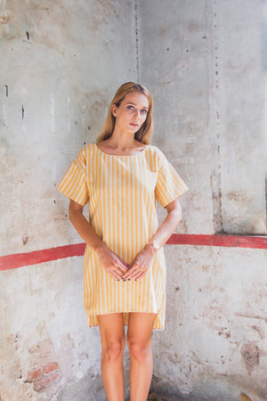 FLORENCE TUNIC DRESS SUNRISE YELLOW FRONT CLOSE UP
