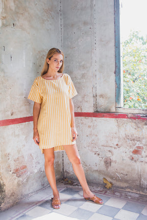 FLORENCE TUNIC DRESS SUNRISE YELLOW FRONT