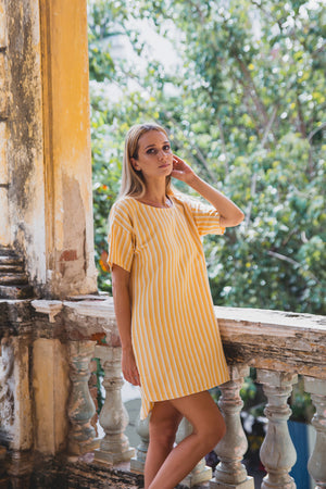 FLORENCE TUNIC DRESS SUNRISE YELLOW HALF FRONT