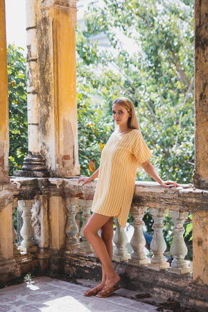 FLORENCE TUNIC DRESS SUNRISE YELLOW HALF SIDE