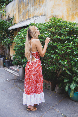 DAHLIA DRESS BRICK RED PAISLEY BACK SIDE