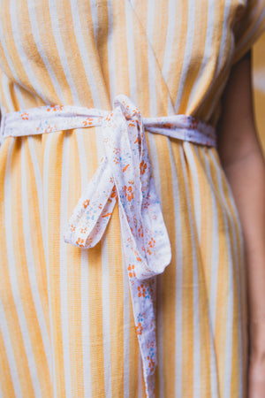 LEYLA WRAP DRESS SUNRISE YELLOW BELT DETAIL CLOSE UP