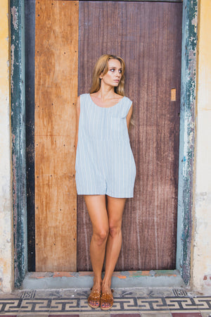 SIENNA PLAYSUIT CORNFLOWER BLUE FRONT