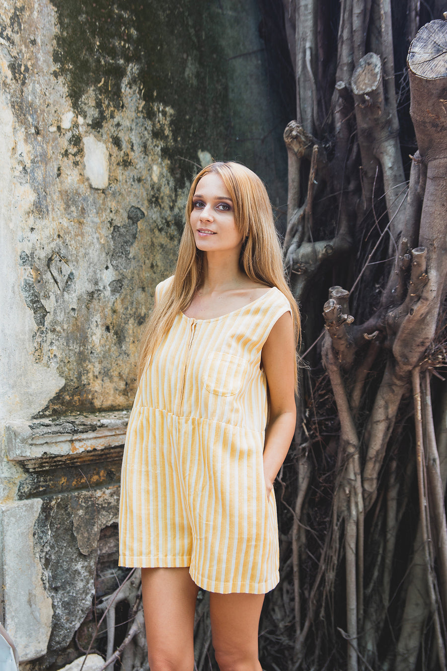 SIENNA PLAYSUIT SUNRISE YELLOW FRONT WITH BELT