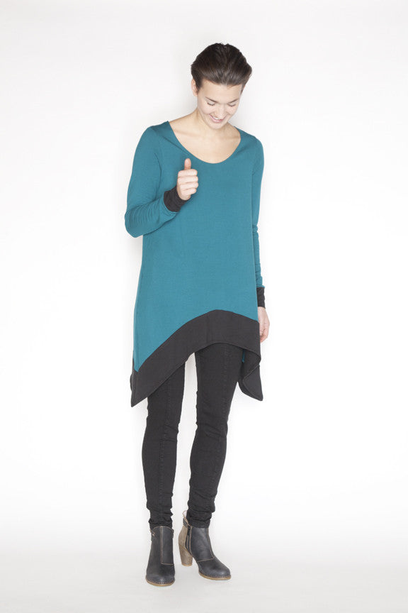 Sweater tunic made locally in Vancouver from sustainable fibers.  Front.