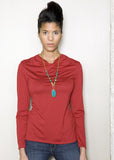 Sustainable Cowl long sleeve top made in Vancouver, BC Canada. Red.