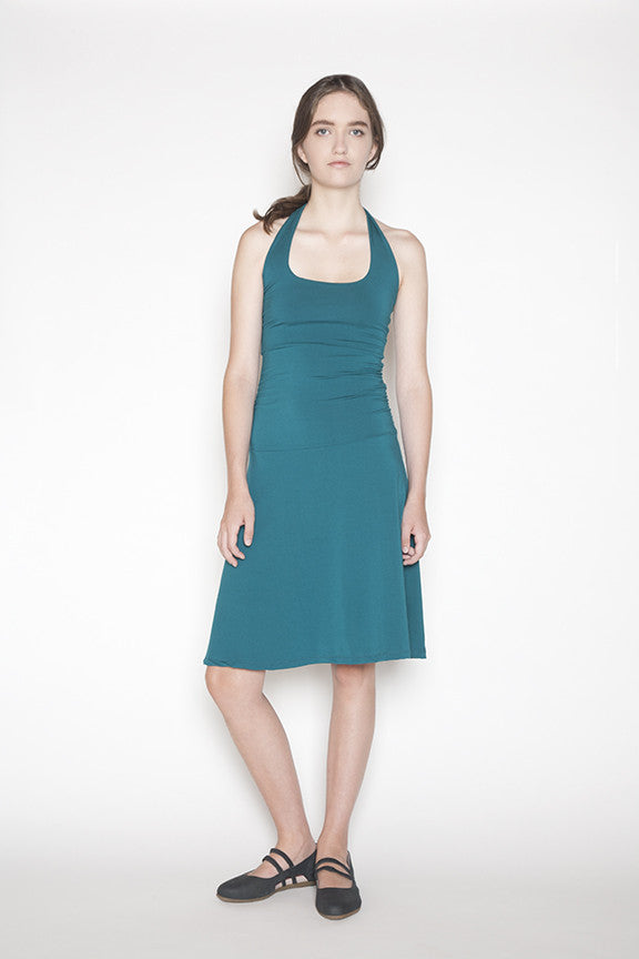 Sustainable bamboo dress made in Vancouver, BC Canada.  Front