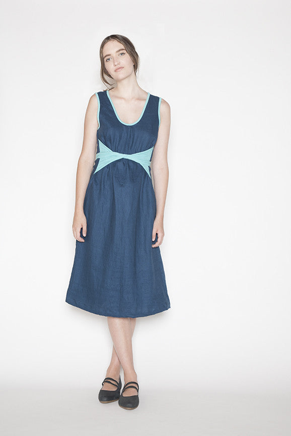 Linen sustainable dress made in Vancouver, BC.  Front.