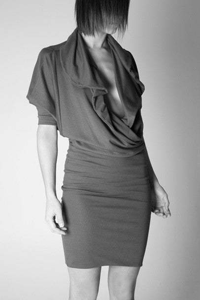 Sustainable Pigment dress made from viscose from bamboo in Vancouver, BC Canada.