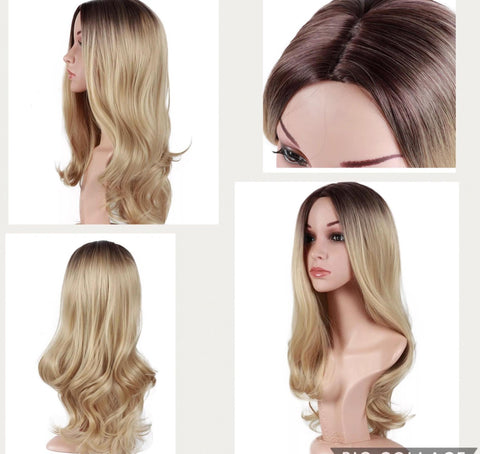 Wig Heat Resistant Long Wave Non-Lace Front Middle Part - beautygiantusa.com