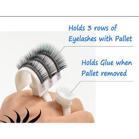 Glue Ring Strip Eyelash Holder Eyelash Extensions Pallet Set - BeautyGiant USA
