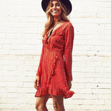 Autumn Summer V-Neck Beach Dress (Short)