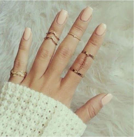 6pc Simple Accent Gold / Silver Ring Set