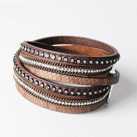 Vintage Southwestern Leather Rhinestone Bangle