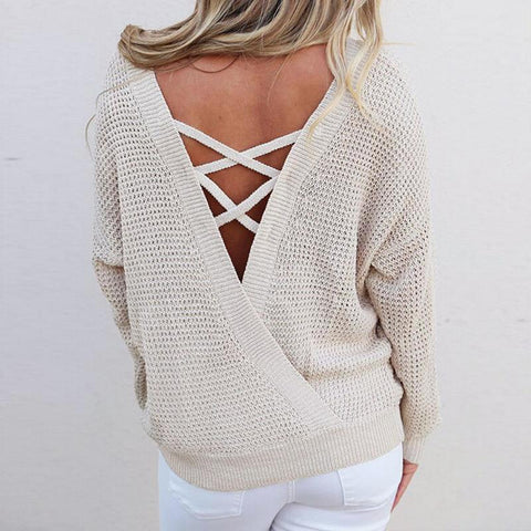 "SnuggleMe™ Collection - ""Romance"" Knitted Backless Lace Up Sweater"
