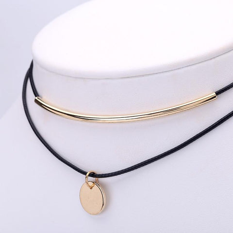 2-in-1 Gold Plated Coins Pendant Choker