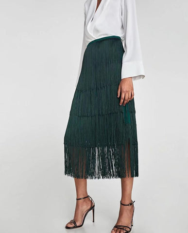 Tassel & Twirl A-Line Long Skirt