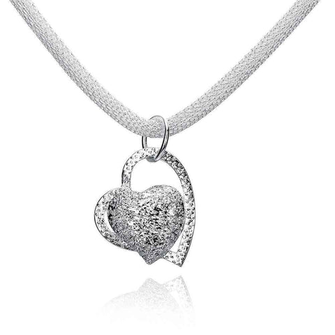 .925 Silver Floating Heart Pendant Charm Necklace