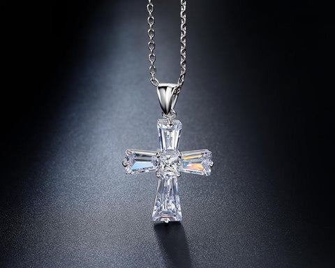 Silver Zirconium Crystal Cross Necklace Pendant