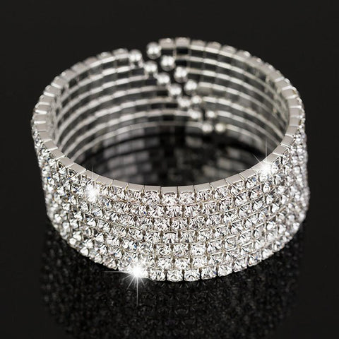 "7 Row ""Ice Queen"" Rhinestone Silver Crystal Bangle"
