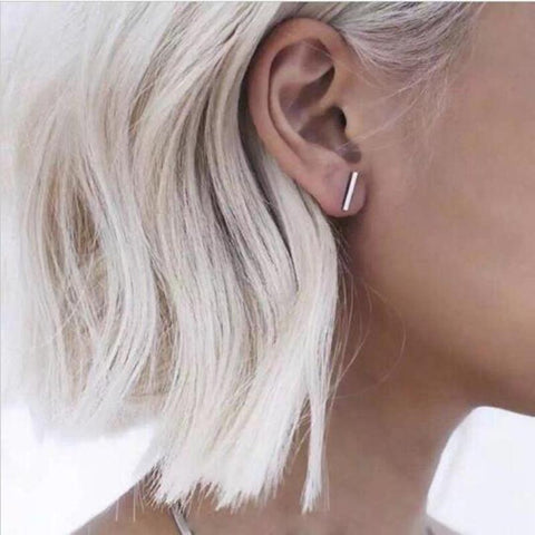 Simple T Bar Stud Earrings