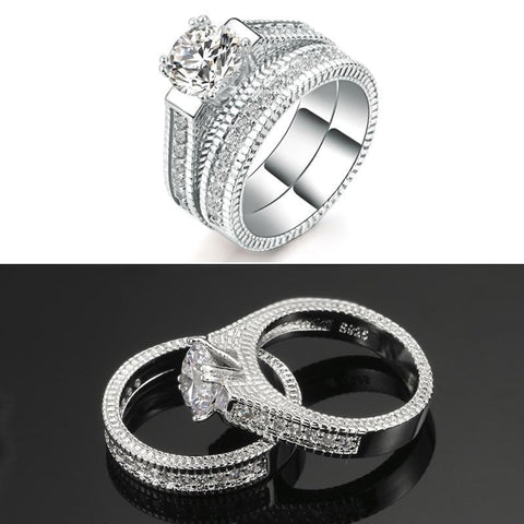 Platinum Zirconium Crystal Fashion Ring