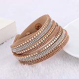 Multilayer Rhinestone Slake Leather Bangle Bracelet