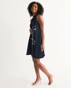 """Strength"" Women's Halter Dress (Navy)"