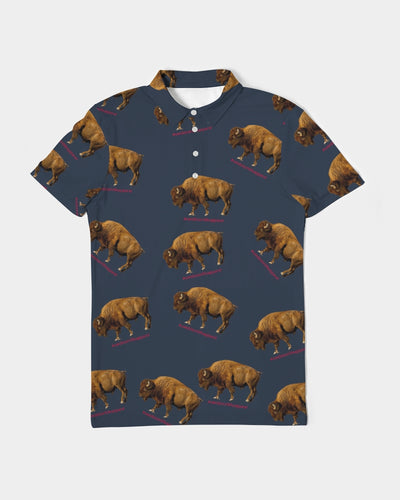 BISON Men's Slim Fit Short Sleeve Polo