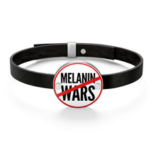 Load image into Gallery viewer, No Melanin Wars Leather Bracelet