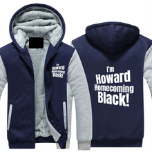 Load image into Gallery viewer, HOWARD HOMECOMING BLACK Hoodie Full Zip Warm and Thick Plush Sweater for Men Front and Back Print