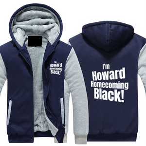 HOWARD HOMECOMING BLACK Hoodie Full Zip Warm and Thick Plush Sweater for Men Front and Back Print