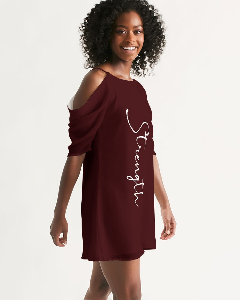 """Strength"" Women's Open Shoulder A-Line Dress (Cranberry)"