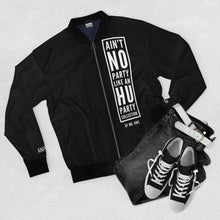 "Load image into Gallery viewer, ""Ain't No Party Like An HU Party"" Men's AOP Bomber Jacket"