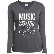 "Load image into Gallery viewer, ""Music To My Ear..."" Ladies' LS Performance V-Neck T-Shirt"