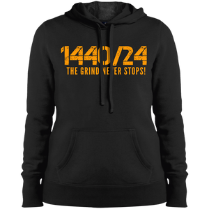 1440/24 White/Orange Ladies' Pullover Hooded Sweatshirt