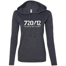 Load image into Gallery viewer, 720/12 THE GRIND NEVER Anvil Ladies' LS T-Shirt Hoodie White Print