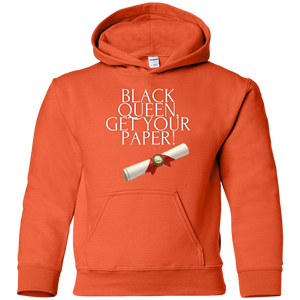 Black Queen Get Your Paper  Youth Pullover Hoodie