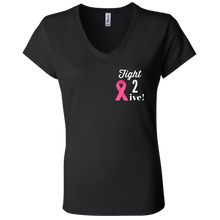 "Load image into Gallery viewer, ""Fight 2 Live"" Ladies' Jersey V-Neck T-Shirt"