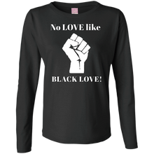 Load image into Gallery viewer, BLACK LOVE Ladies' LS Cotton T-Shirt