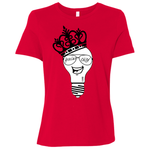 Genius Child (b/w grin)  Ladies' Relaxed Jersey Short-Sleeve T-Shirt