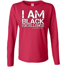 Load image into Gallery viewer, I AM BLACK EXCELLENCE Ladies' LS Cotton T-Shirt