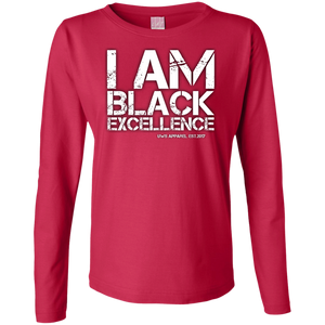 I AM BLACK EXCELLENCE Ladies' LS Cotton T-Shirt